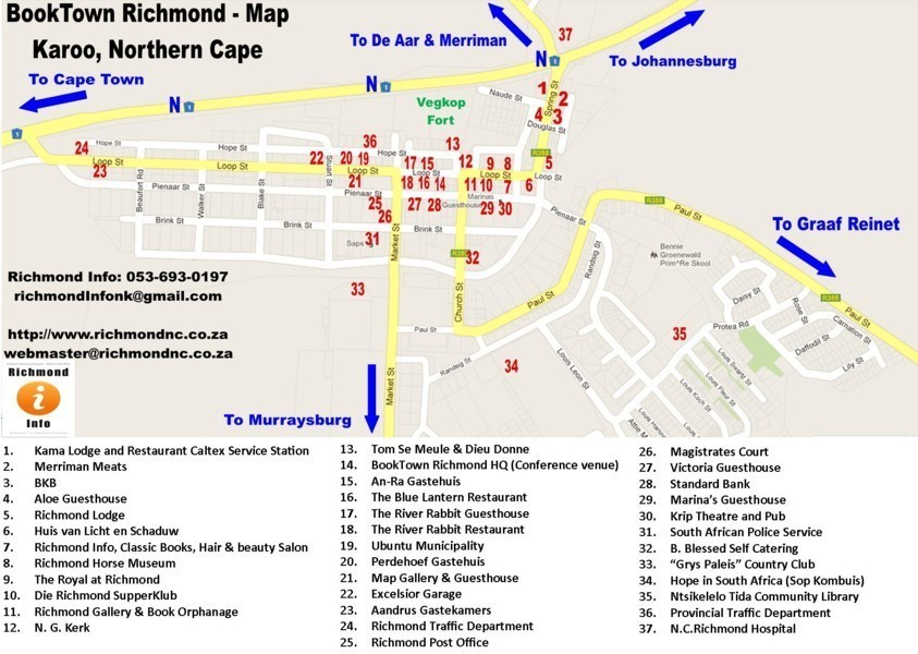 Richmond Traffic Map.Richmond Northern Cape Tourist Information